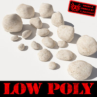 Rocks - Stones 5 Low Poly Smooth RS09 - Light Tan or White 3D rocks or stones