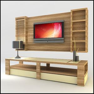 modern tv wall unit 3ds