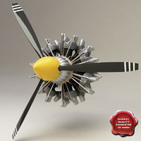 3d twin row-14 wasp radial engine model