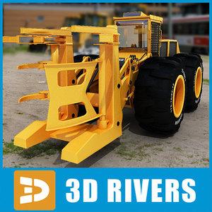3d wheel feller buncher industrial vehicles model