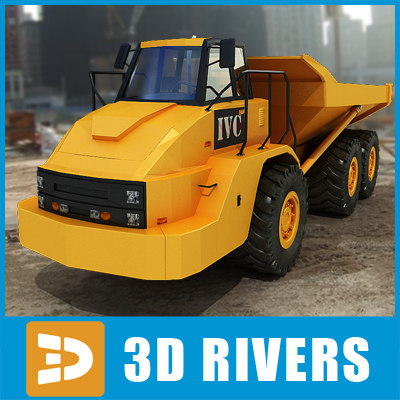articulated truck industrial vehicles 3d 3ds