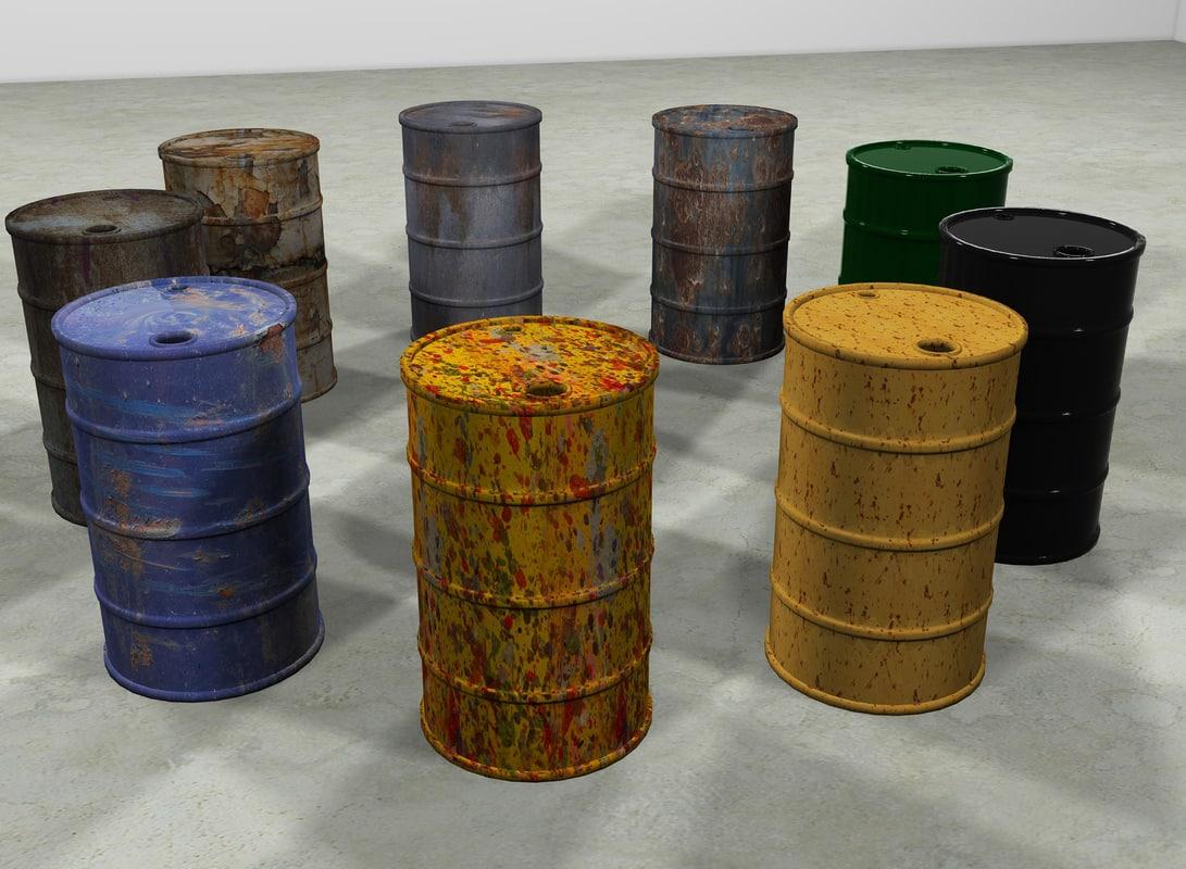 3d steel barrels model
