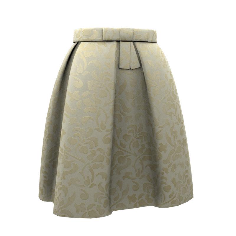 bow belt skirt 3d model