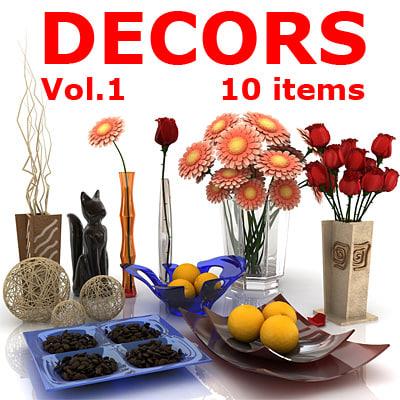 decorative 10 items 3d model