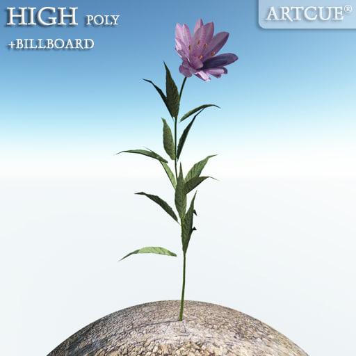 3ds flower high-poly billboard