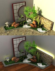 japanese style garden 3d model