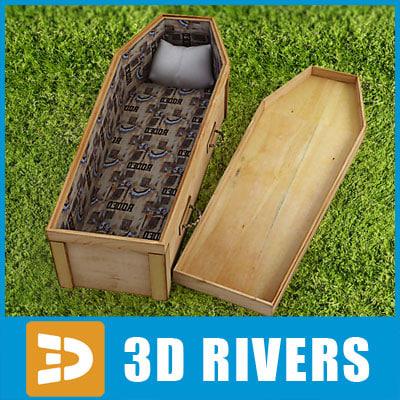 light wood coffin 3d model