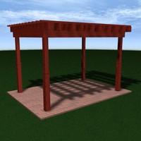 wood pergola 3ds