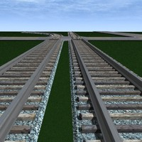 railroad track set curve road 3d 3ds