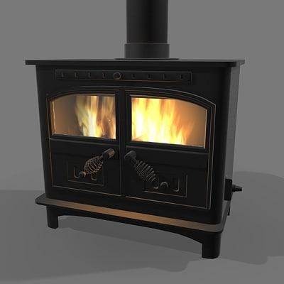 3d wood burning stove