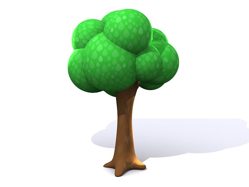 simple cartoon tree 3d model