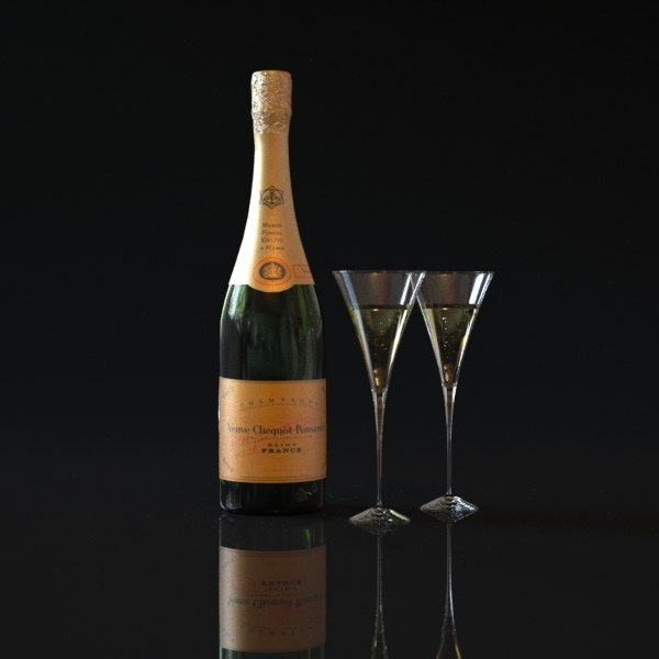 bottle champagne veuve clicquot 3ds