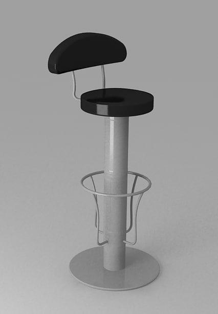 3d long bar chair