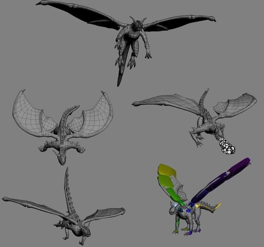 3d dragon flying landing model