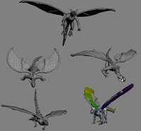 3d dragon flying landing model