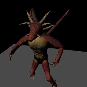 dragon humanoid creature 3d model