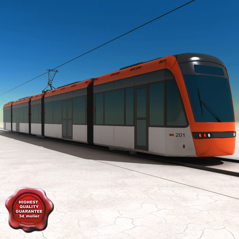 low-floor light rail vehicle 3d model