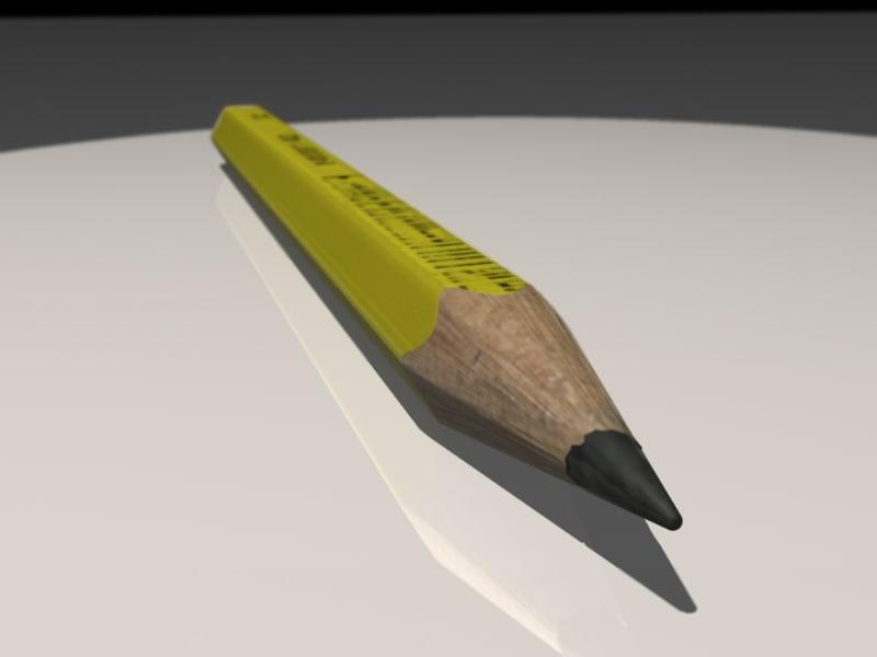 pencil yellow 3d max