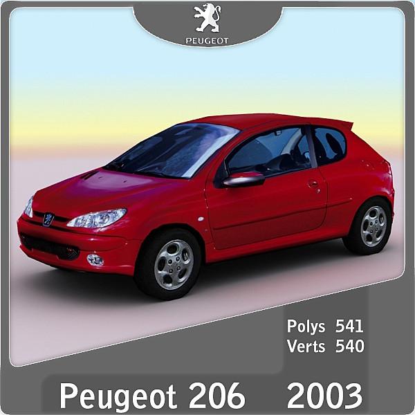3d 2003 peugeot 206