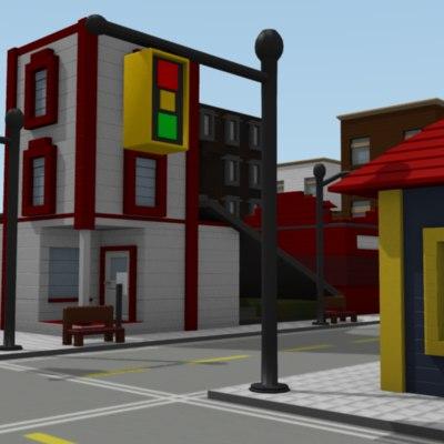 3d lego buildings house model