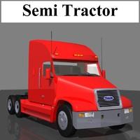 3d semi tractor trailer truck