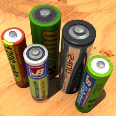 3d model batteries hi-res