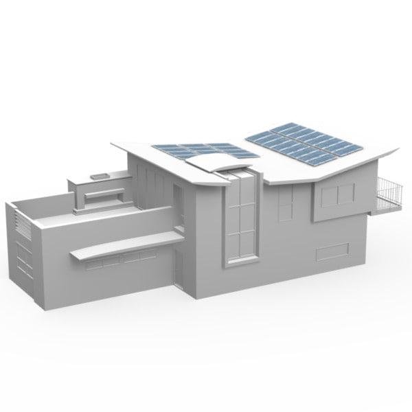 modern story house solar panels 3d model