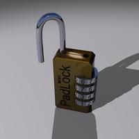 3d model mini padlock