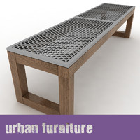 urban furniture bench 3d model
