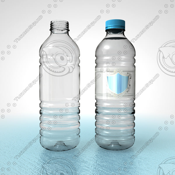 c4d pet water bottle