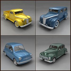 classic cars 3d obj