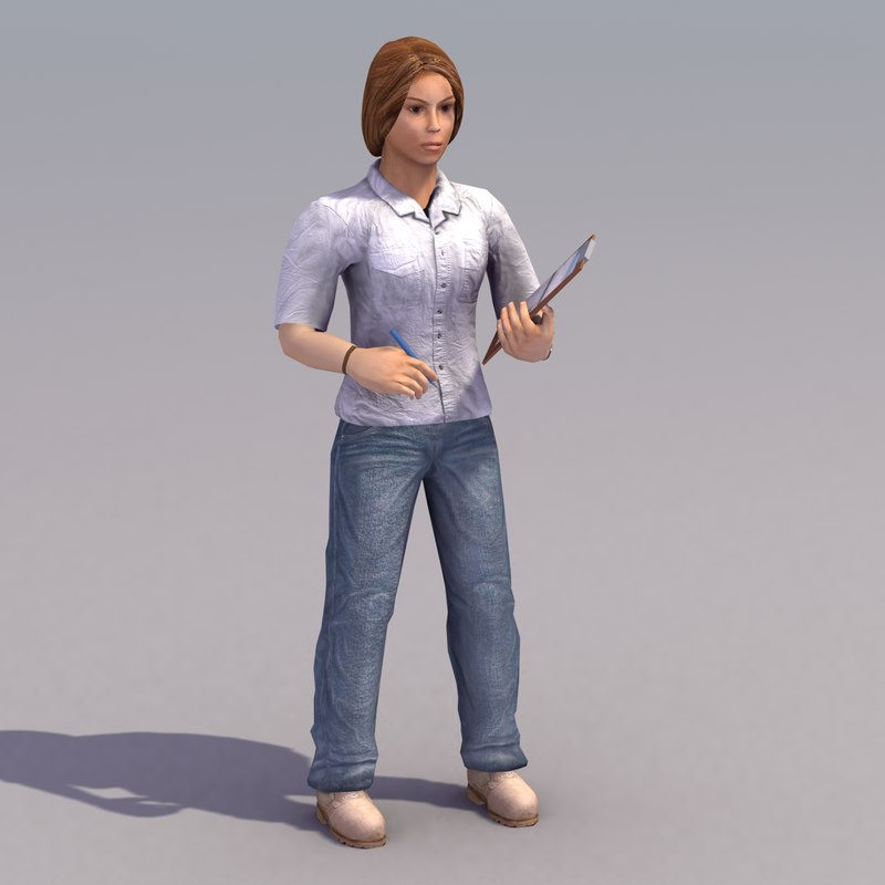 3ds max female figure rigged