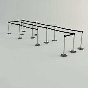 queue barrier: mentalray materials 3d model
