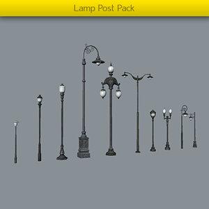 pack lamp posts 3d model