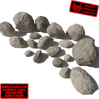 Rocks - Stones 3 Smooth RS05 - Tan or Grey 3D rocks or stones