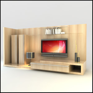 modern tv wall unit obj