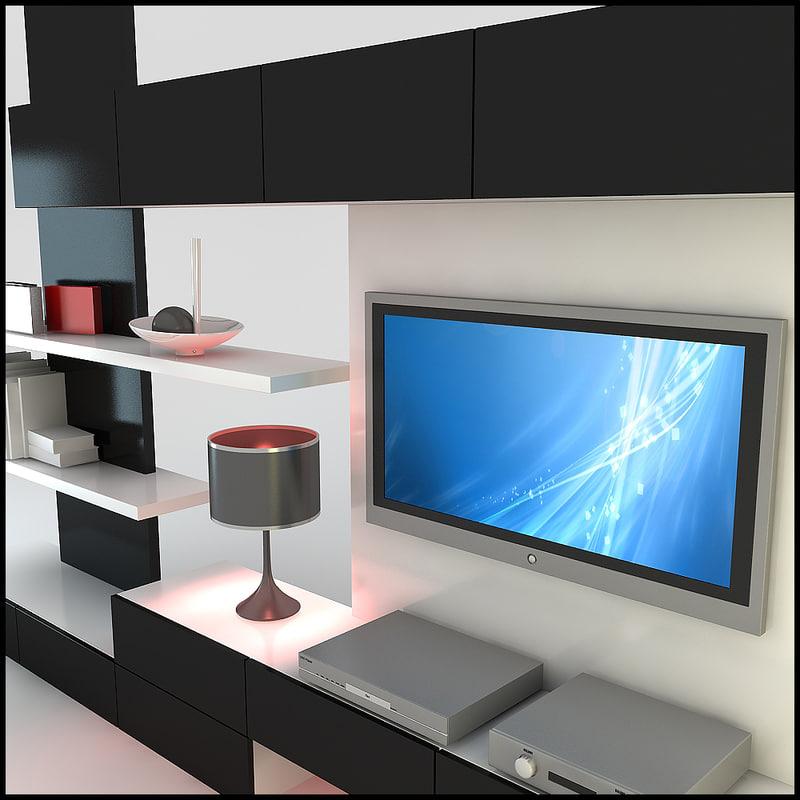 modern tv wall unit 3d max