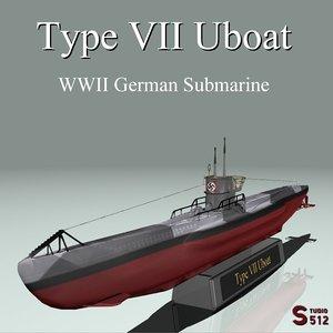 nazi type vii u-boat 3d lwo