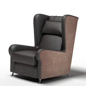3d baxter wing chair model