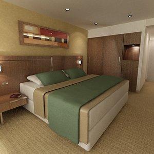 guest room hotel b 3d max