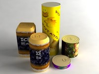 tin pack cans 3d model