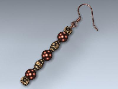 3d model earring copper dangle
