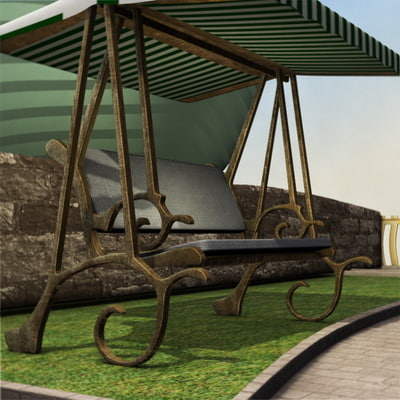 3d model seater garden hammock b