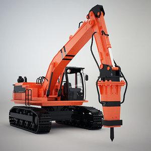 3d model of hammer hydraulic crawler