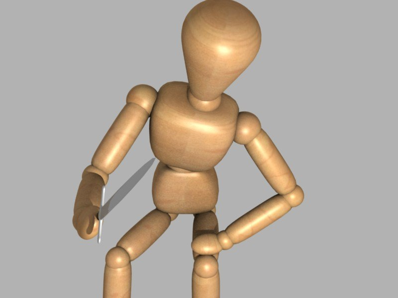 3d wooden mannequin rigged model