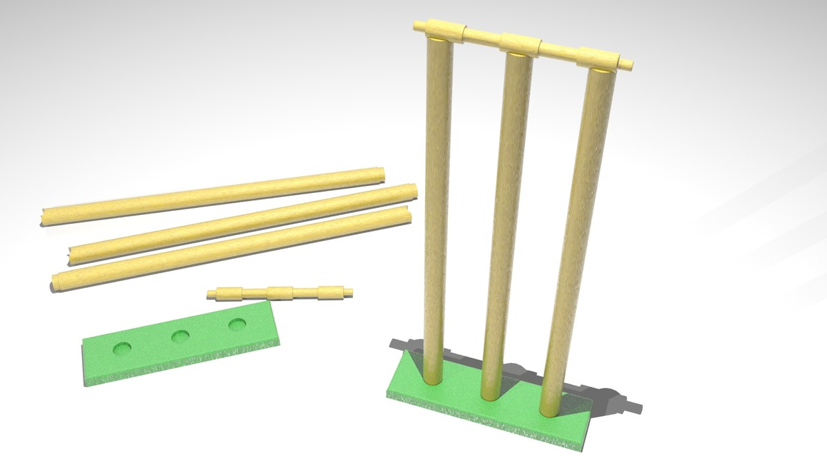 3d cricket stumps