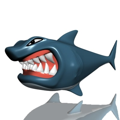 hungry shark 3d obj