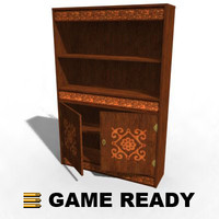 3ds old wooden bookcase -