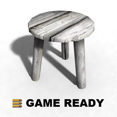 3d wooden stool - model