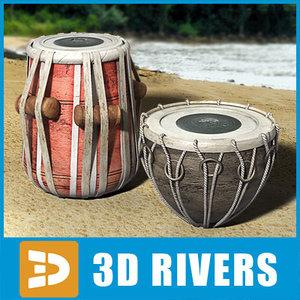 indian tabla set percussion 3d max